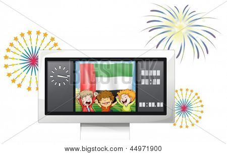 Illustration of the UAE flag and kids inside the timeboard on a white background