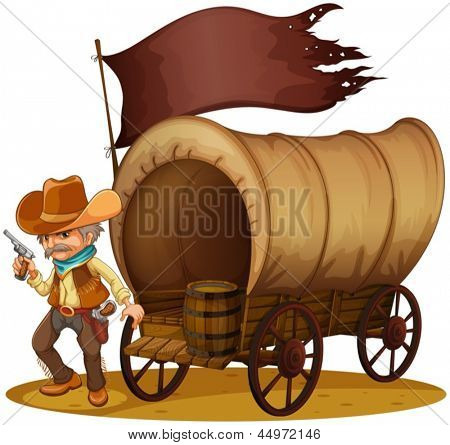Illustration of a gunman with a wagon on a white background