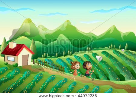 Illustration of the two kids catching butterflies at the farm