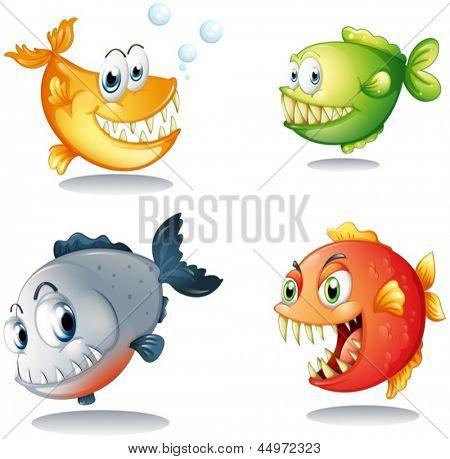 Ilustración de los cuatro diferentes tipos de peces con grandes colmillos sobre un fondo blanco