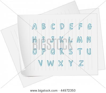 Illustration of a paper with the alphabet on a white background