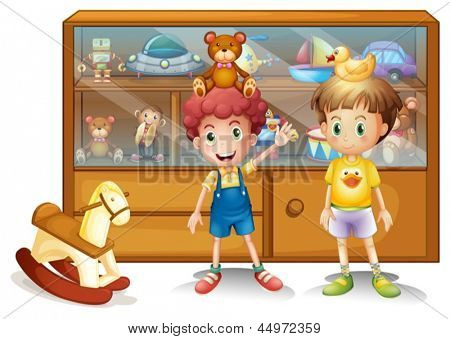 Illustration of the two young boys in front of a cabinet with toys on a white background