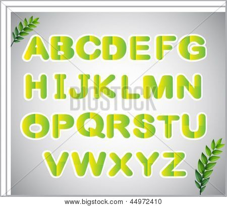 Illustration of a paper with the letters of the alphabet