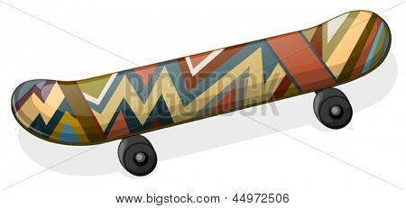 Illustration of a skateboard with a paint on a white background