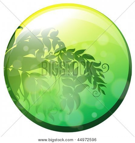 Illustration of a circle with leaves inside on a white background
