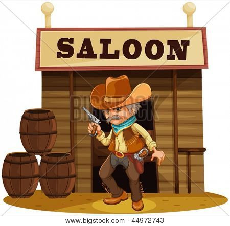 Illustration of a man holding a gun in front of a saloon bar on a white background