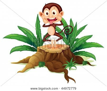 Illustration of a boastful monkey above the trunk on a white background