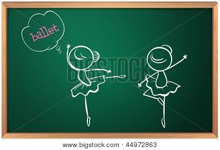 Illustration of a blackboard with a drawing of two ballet dancers on a white background
