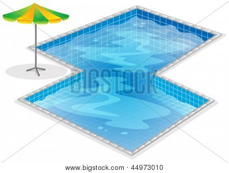 Illustration of a swimming pool with a beach umbrella on a white background