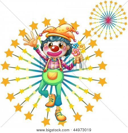 Illustration of a firework display with a clown on a white background