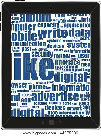 Business And Financial Words On Tablet Pc Screen, art illustration