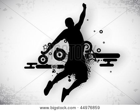 Illustration of a basketball player practicing with ball at court on abstract grungy background. EPS 10.