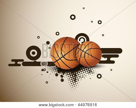 Illustration of a basketballs on  abstract grungy background. EPS 10.
