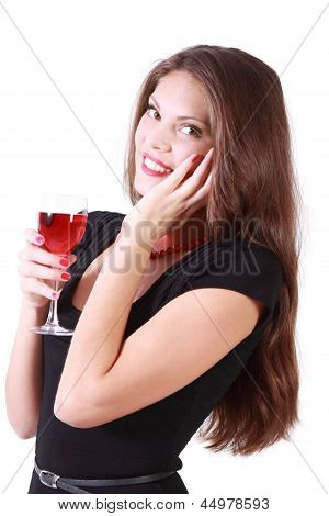 Beautiful Smiling Girl Holds Glass Of Red Wine And Looks At Camera Isolated On White Background.