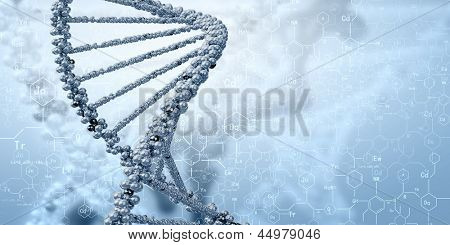 DNA molecule is located in front of a colored background. abstract collage