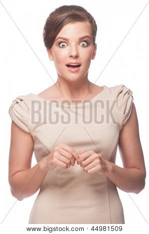 Portrait of surprised young woman with open mouth. Isolated on white background