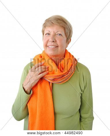 Portrait Of Elderly Woman With Orange Cravat On The White Background