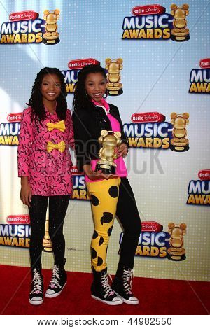 LOS ANGELES - APR 27:  Halle Bailey, Chloe Bailey arrives at the Radio Disney Music Awards 2013 at the Nokia Theater on April 27, 2013 in Los Angeles, CA