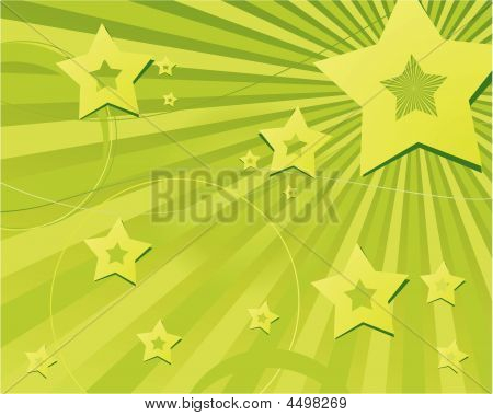 Abstract Green Stars And Stripes
