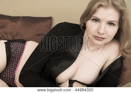 Blonde Woman In Lingerie