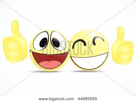 Emoticon with thumb .business commerce concept