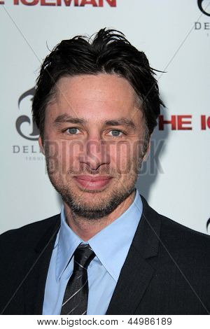 "LOS ANGELES - APR 22:  Zach Braff arrives at ""The Iceman"" Premiere at the ArcLight Hollywood Theaters on April 22, 2013 in Los Angeles, CA"