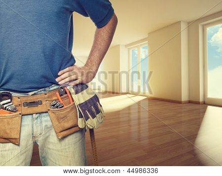 closeup image of handyman at home