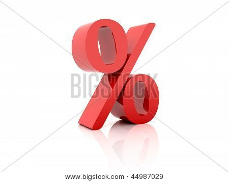 Percent. Red on white background.