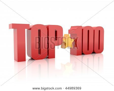 Top hundred red word isolated on white background.