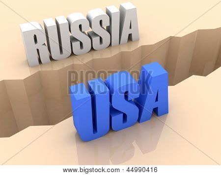 Two countries RUSSIA and USA split on sides separation crack.