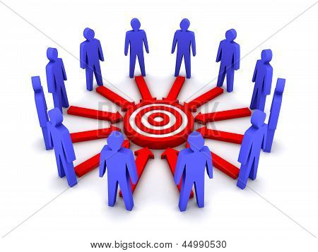 Group of 3D people working towards a common target.
