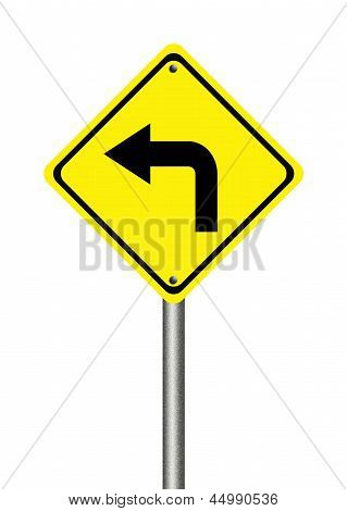 Turn Left Yellow Traffic Sign
