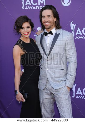 LAS VEGAS - APR 07:  Jake Owen & Lacey Buchanan arrives to the Academy of Country Music Awards 2013  on April 07, 2013 in Las Vegas, NV.