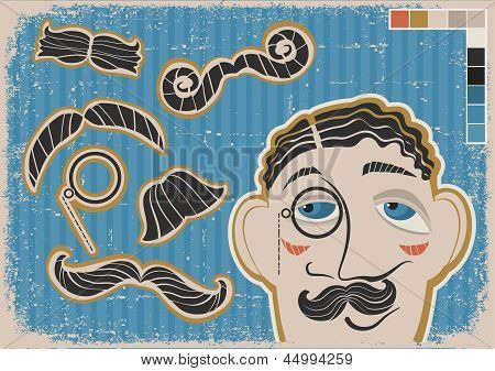 Vintage Gentleman Face And Mustaches On Old Paper Texture