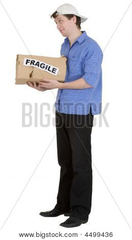 "Man Hold Cardboard Box With Discription ""fragile"""