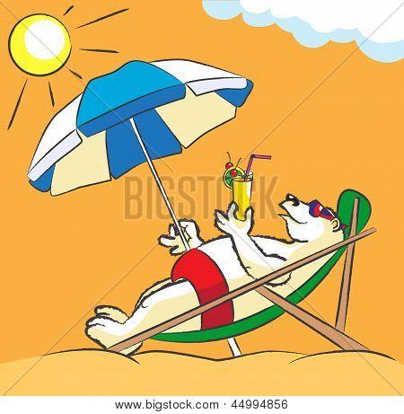 White Bear On A Beach