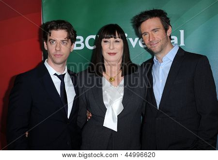 LOS ANGELES - JAN 06:  Christian Borie, Anjelica Huston & Jack Davenport arrives to the NBC All Star Winter TCA 2013  on January 06, 2013 in Pasadena, CA