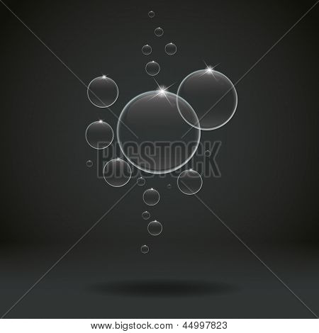 White bubbles on Black background, vector illustration