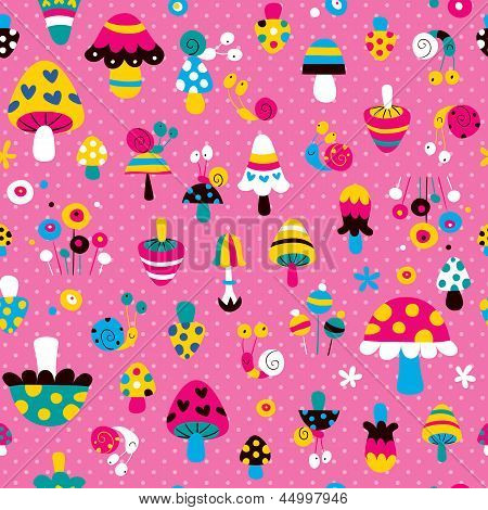 mushrooms & snails pattern