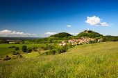 stock photo of hayfield  - Summer Landscape with Castle Leuchtenburg - JPG