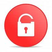 padlock red circle web glossy icon