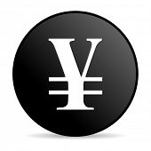 pic of yen  - yen black circle web glossy icon - JPG