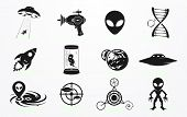 foto of alien  - Alien and UFO icons set - JPG