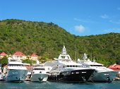 Mega yachts in Gustavia Harbor at St. Barths