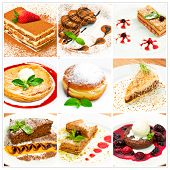 picture of cream puff  - Collage with different sweet dessert whole screen - JPG