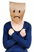 picture of masker  - a sad looking person with hands on its body isolated - JPG