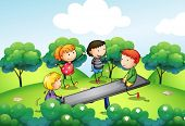 pic of seesaw  - Illustration of the four kids playing with the seesaw at the hill - JPG