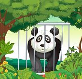 Illustration of a forest with a panda inside a cage