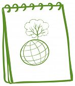 Illustration of a green notebook with a globe at the front page on a white background