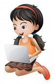 pic of encoding  - Illustration of a girl with a laptop on a white background - JPG